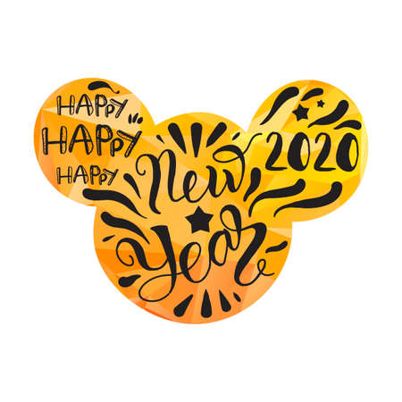 Happy new 2020 year greeting card vector template. Mouse head silhouette in blurry background