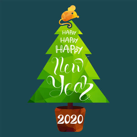 2020 Happy New Year on Holiday Tree Form Banner. Multicolored Numbers Two Thousand Twenty on Fir-tree Decorated Rat on Top. Pinetree in Pot Post Card Vector Flat Cartoon Illustration