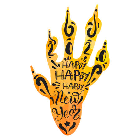 Happy new year lettering on rat paw silhouette. Holiday greeting card decorative design element