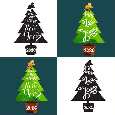 Christmas greeting cards templates set. Flat and silhouette fir trees illustrations with lettering
