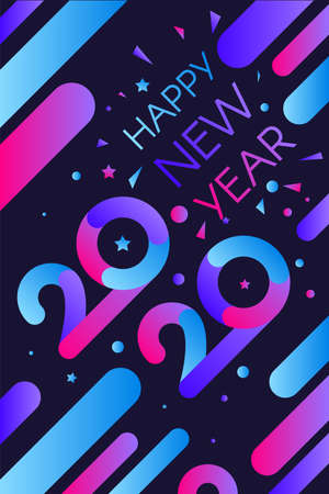 2020 Happy New Year Colorful Invitation Banner. Modern Numbers Two Thousand Twenty with Greeting Words. Trendy Congratulation Vertical Poster on Festive Party Vector Flat Cartoon Illustration Çizim