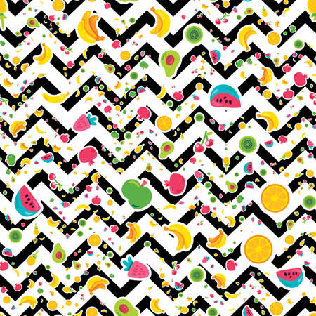 Painted Berries Summer Fruits Mix Seamless Pattern. Bright Pineapple, Orange on Zigzag Backdrop. Cherries Kiwi and Pomegranate with Black Dotted Line. Kid Print. Cartoon Flat Vector Illustration Çizim