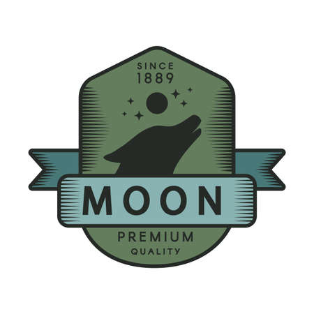Moon color retro template. Forest wildlife vector vintage symbol. Howling wolf head silhouette Çizim