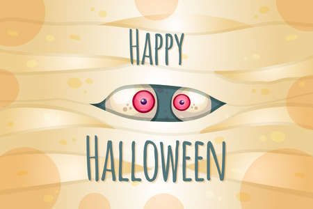 Happy Halloween vector postcard template. Traditional autumn holiday. Spooky party celebrations Çizim
