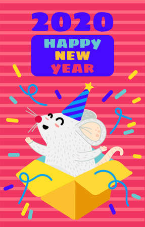 Funny mouse flat greeting card template. Xmas rat in gift box postcard. Year 2020 symbol Иллюстрация