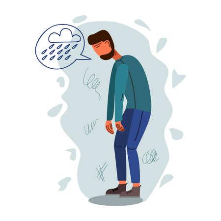 Depressed young man flat vector illustration. Mental, psychological problem. Melancholy concept
