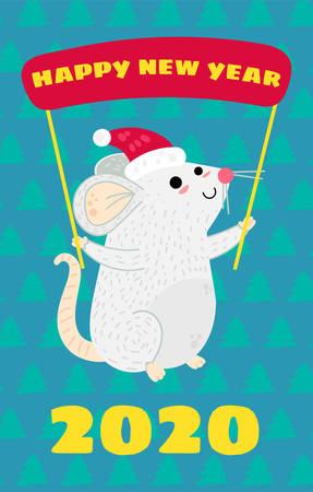 Funny mouse greeting card vector template. Xmas rat in Santa hat postcard. Year 2020 symbol 일러스트