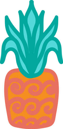 Whole pineapple hand drawn vector illustration. Fresh tropical fruit, exotic vegetarian food