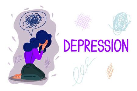 Depression hand drawn banner vector template. Psychology, psychotherapy cartoon poster concept