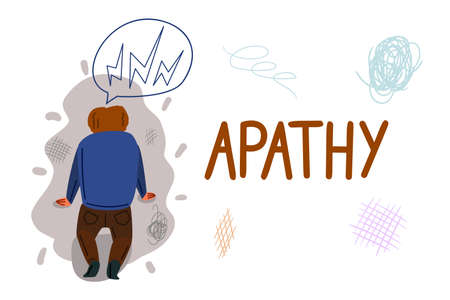 Apathy hand drawn banner vector template. Mental problem, indifference cartoon poster concept Çizim