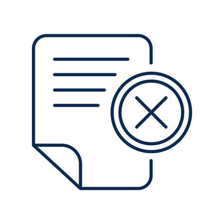 Office document monochrome linear icon. Text file deletion color thin line pictogram