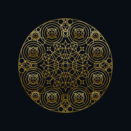 Golden ink geometric mandala linear vector illustration. Ethnic oriental symbol isolated on black