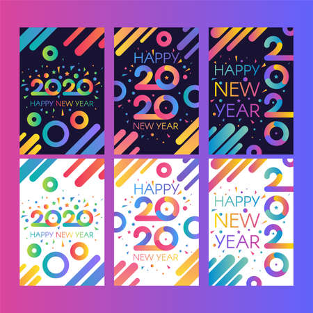 Collection 2020 Happy New Year Card Banner Set. Multicolored Numbers Two Thousand Twenty, Seasonal Calendar, Greeting Postcards. Vertical Poster Christmas Annonce Vector Flat Cartoon Illustrations