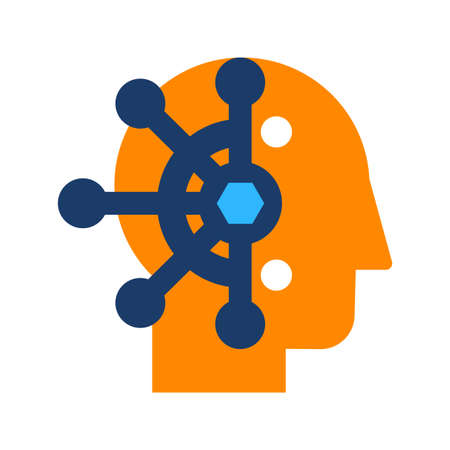 Mind control, thought manipulation flat vector icon. Brainwashing, neuroscience color pictogram Ilustracja