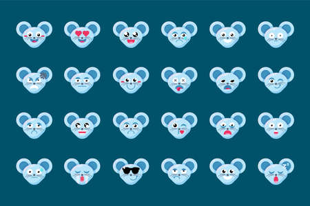 Emoji Fun Cute Animal Mouse Smile Emotions Set. Colorful Collection Face Feelings Happy and Inlove, Confused and Dizzy, Blankface and Happyface. Emoticon Vector Flat Cartoon Illustrations
