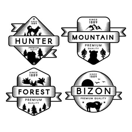 Hunter and Bizon, Forest and Mountain Set Logo. Collection Trademark Premium Quality. Dog and Bear, Deer and Buffalo Silhouettes on Logotype Monochrome Template Vector Flat Illustrations