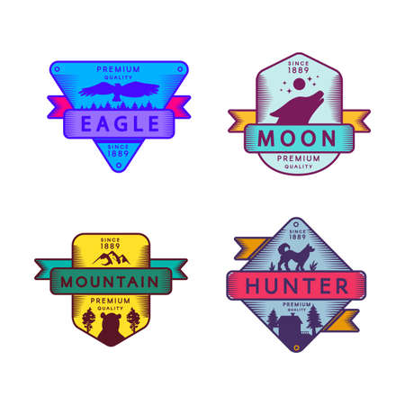 Fly Eagle and Hunter, Moon and Mountain Set Logo. Colorful Assortment Trademark Premium Quality. Howling Wolf and Bear, Dog and Condor Silhouettes on Designed Logotype Mockup Vector Flat Illustrations