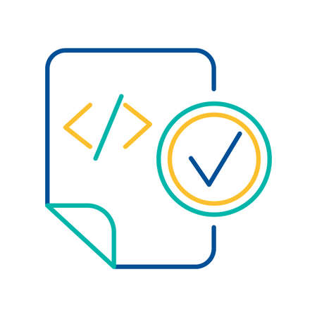 HTML tag blue and yellow thin line pictogram. System document with check mark color linear icon Illusztráció