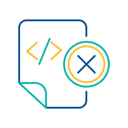HTML tag file deletion color linear icon. System doc removal blue and yellow thin line pictogram Illustration