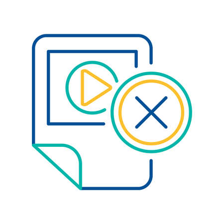 Multimedia player removal blue and yellow linear icon. App deletion color thin line pictogram Illustration