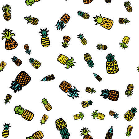 Pineapples vector hand drawn seamless pattern. Tropical, exotic fruits on white background