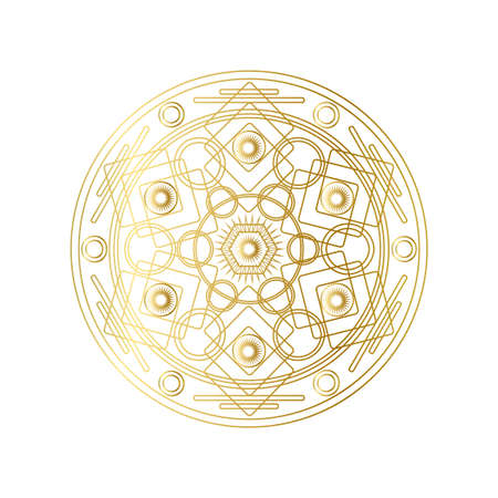 Golden abstract geometric mandala outline vector illustration. Psychedelic pattern isolated on white