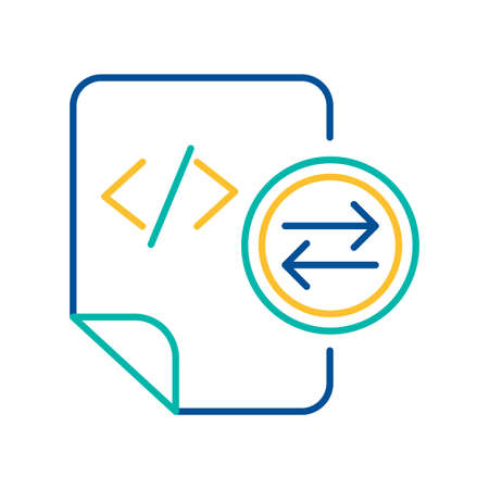 System files exchange blue and yellow linear icon. HTML tag transfer mark color thin line pictogram Illusztráció