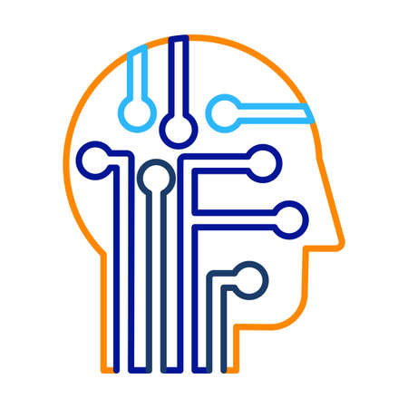 Intelligence, knowledge and education thin line vector icon. AI technology contour pictogram