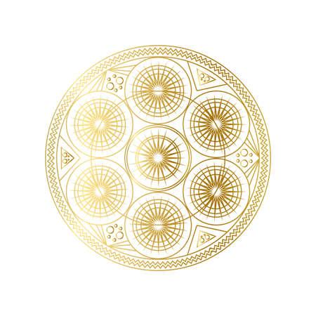 Golden abstract geometric mandala outline vector illustration Иллюстрация