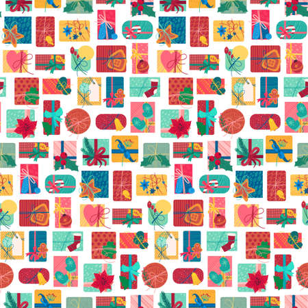New year present boxes vertical seamless pattern