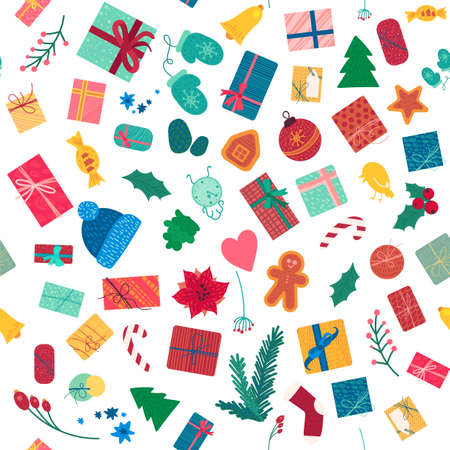 New year holiday items color seamless pattern