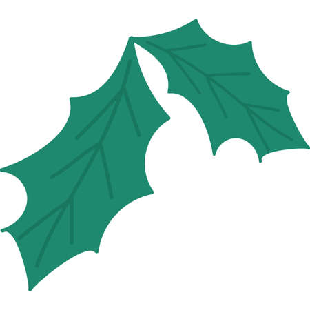 New year holly leaves flat vector illustration