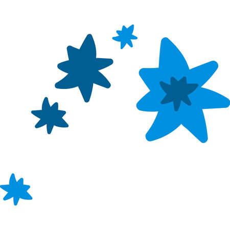 Blue new year snowflakes flat vector illustration