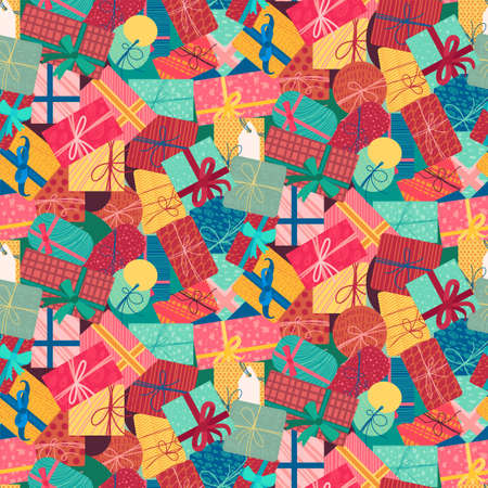 New year present boxes vertical seamless pattern. Christmas gift background. Xmas wallpaper