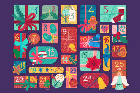 Christmas festive advent calendar flat vector illustration. New Year gift boxes top view set Illustration