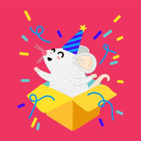 Mouse in gift box cartoon vector illustration. Xmas funny rat postcard. Year 2020 symbol Stock Vector - 134577421