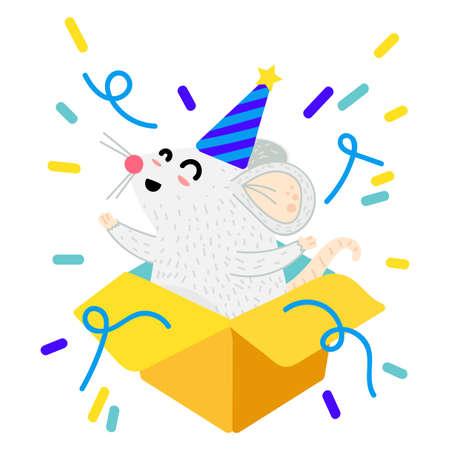 Mouse in gift box cartoon vector illustration. Xmas funny rat postcard. Year 2020 symbol Stock Vector - 134577428