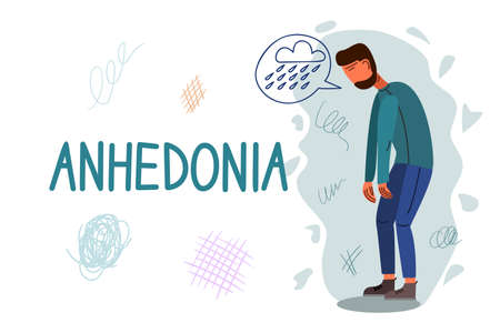 Anhedonia hand drawn banner vector template. Emotional indifference, melancholy cartoon poster