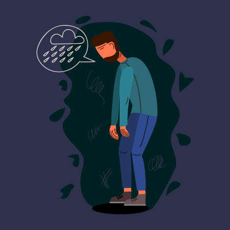 Depressed young man flat vector illustration. Mental, psychological problem. Melancholy concept