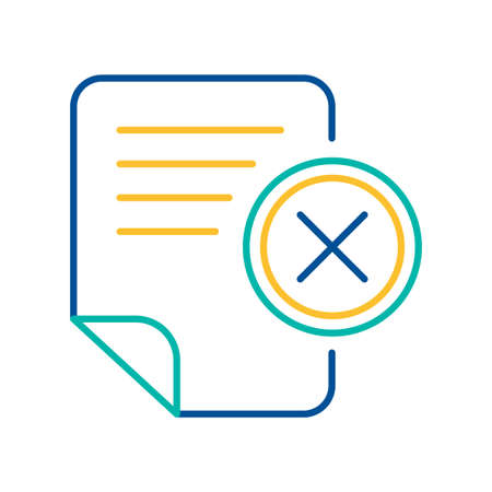 Office document blue and yellow linear icon. Text file deletion color thin line pictogram