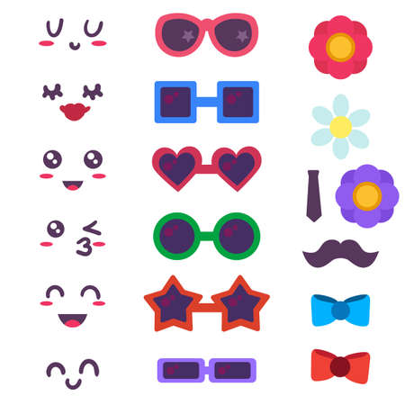 Funny emoticon maker, constructor. Cute facial expressions, sunglasses and decorative elements set 일러스트