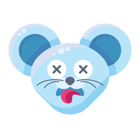 Mouse face dead emoticon sticker. Deceased animal emoji with sticking tongue, rat with crossed eyes