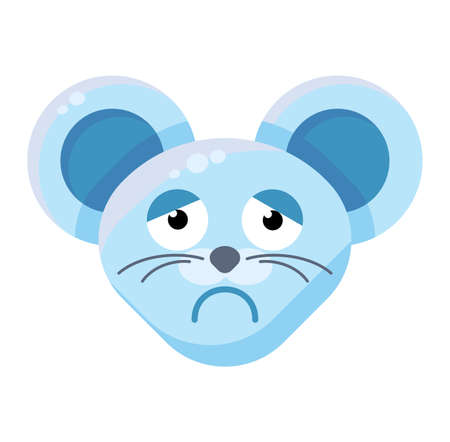 Emoji Funny Animal Mouse Melancholy Expression. Colorful Animal Sad, Tired and Worried Face. Depressed Smile Emotion. Pensive and Sorrowful Emoticon Vector Flat Cartoon Illustration