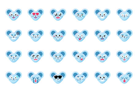 Mouse face flat vector emoticons set. Rats positive, negative facial expressions emoji stickers pack