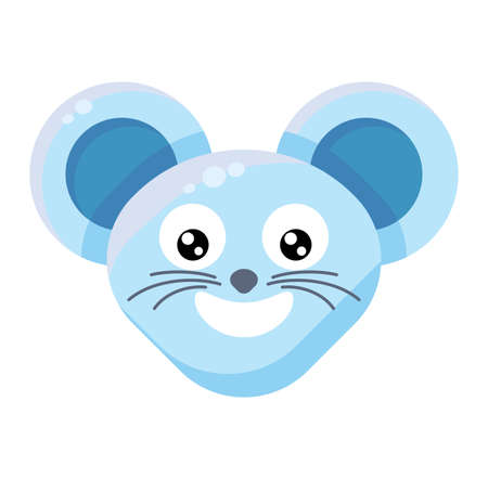 Mouse face smiling emoticon sticker. Cheerful animal emoji, laughing rat with beaming smile