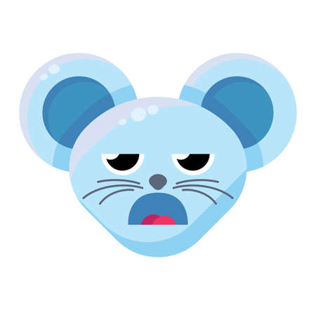 Emoji Cute Funny Animal Mouse Boring Expression. Colorful Animal Face with Open Mouth and Half-close Eyes. Disdain, Duh, Huh and Tired Emotion. Contempt Emoticon Vector Flat Cartoon Illustration