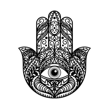 Beautiful Hamsa Hand Tradition Amulet Monochrome Isolated on White Background. Religious Sign with All Seeing Eye. Symbol of Protection from Devil. Bohemian Style Template Vector Flat Illustration