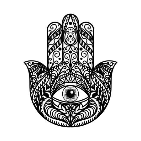 Schöne Hamsa Hand Tradition Amulett Monochrom isoliert auf weißem Hintergrund. Religiöses Zeichen mit allem sehenden Auge. Symbol des Schutzes vor dem Teufel. Böhmische Art-Schablonen-Vektor-flache Illustration