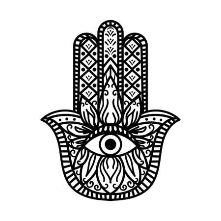 Hamsa Fatima Main Tradition Amulette Monochrome. Bras de signe religieux avec tout œil voyant. Symbole de protection contre la créature mystique. Illustration de plat de vecteur de maquette de style bohème vintage noir et blanc Vecteurs