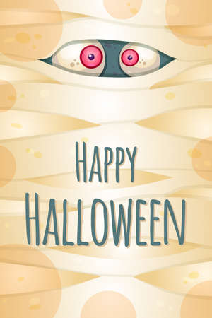 Happy Halloween greeting card vector template. Autumn holiday postcard. Spooky party celebration